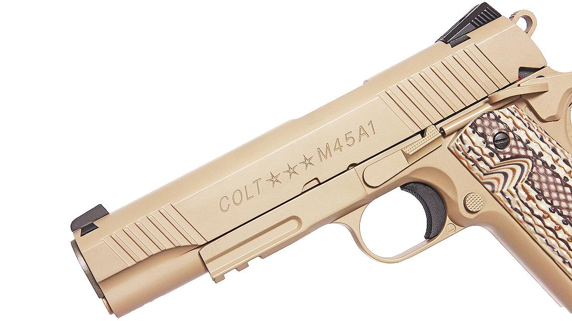 CYBERGUN COLT M45A1 1911 RAIL GUN GBB PISTOL (CO2, TAN)