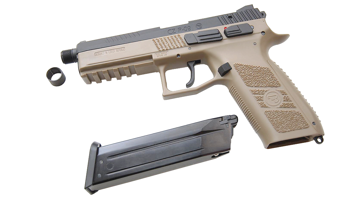 KJ WORKS CZ 75 P-09 Tactical GBB Pistol (GAS, TAN)