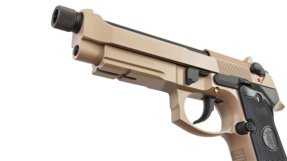 KJ WORKS M9A1 TBC GBB Pistol  (Full Metal, TAN, CO2)